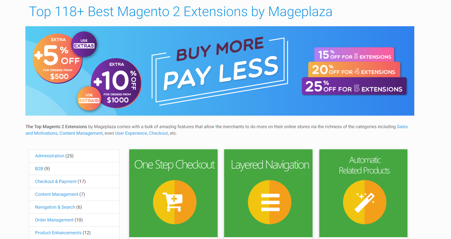 Merchants can also find the best modules via Mageplaza websites