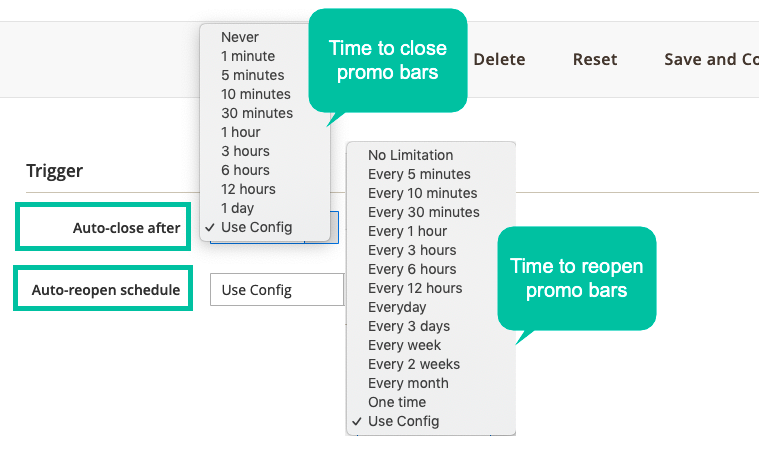 Set Schedule To Display Promo Bars
