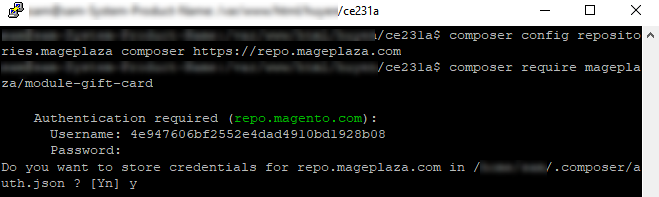 Magento Store Credential