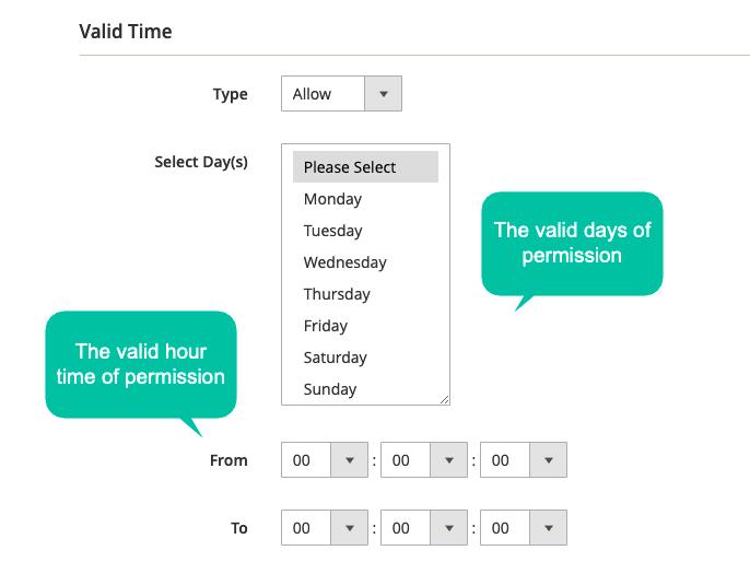 Set valid duration