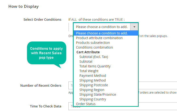 Set conditions for recent sales popup