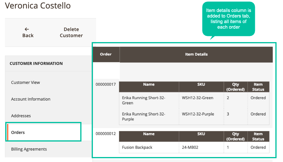 Easily enhance Order tabs in Customer Details Page