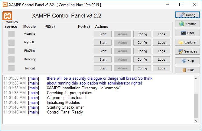 open XAMPP