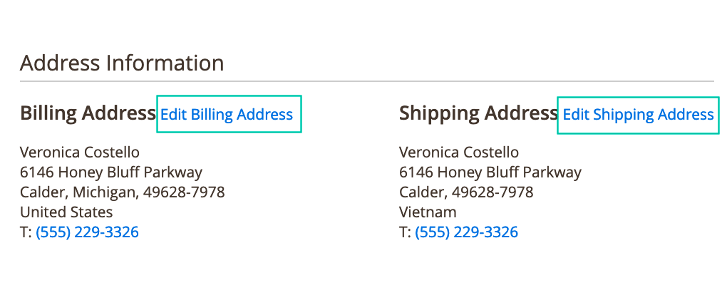 Change billing and shipping address