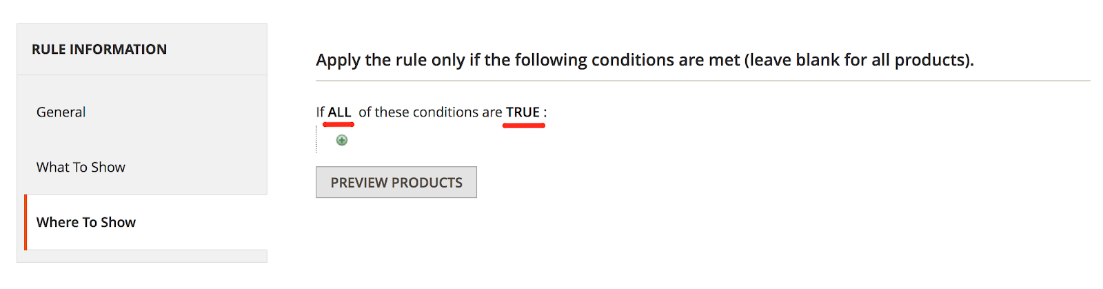 Apply the conditions