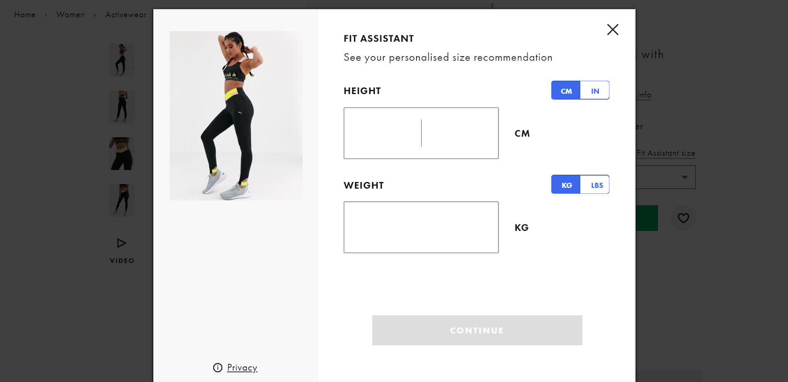 Fit Assistant Size