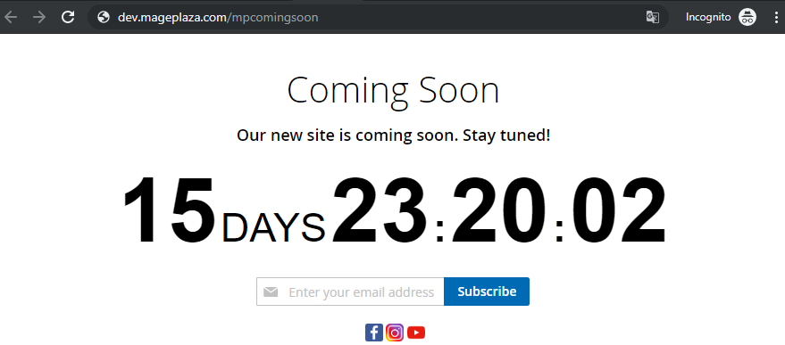 Coming Soon page on the frontend