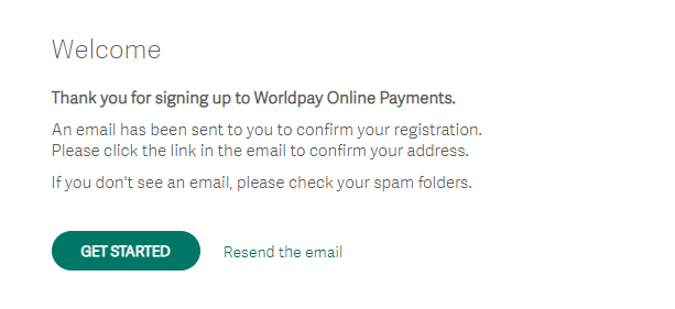 Worldpay email confirmation
