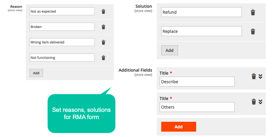 Set Reasons, Solutions For RMA Form