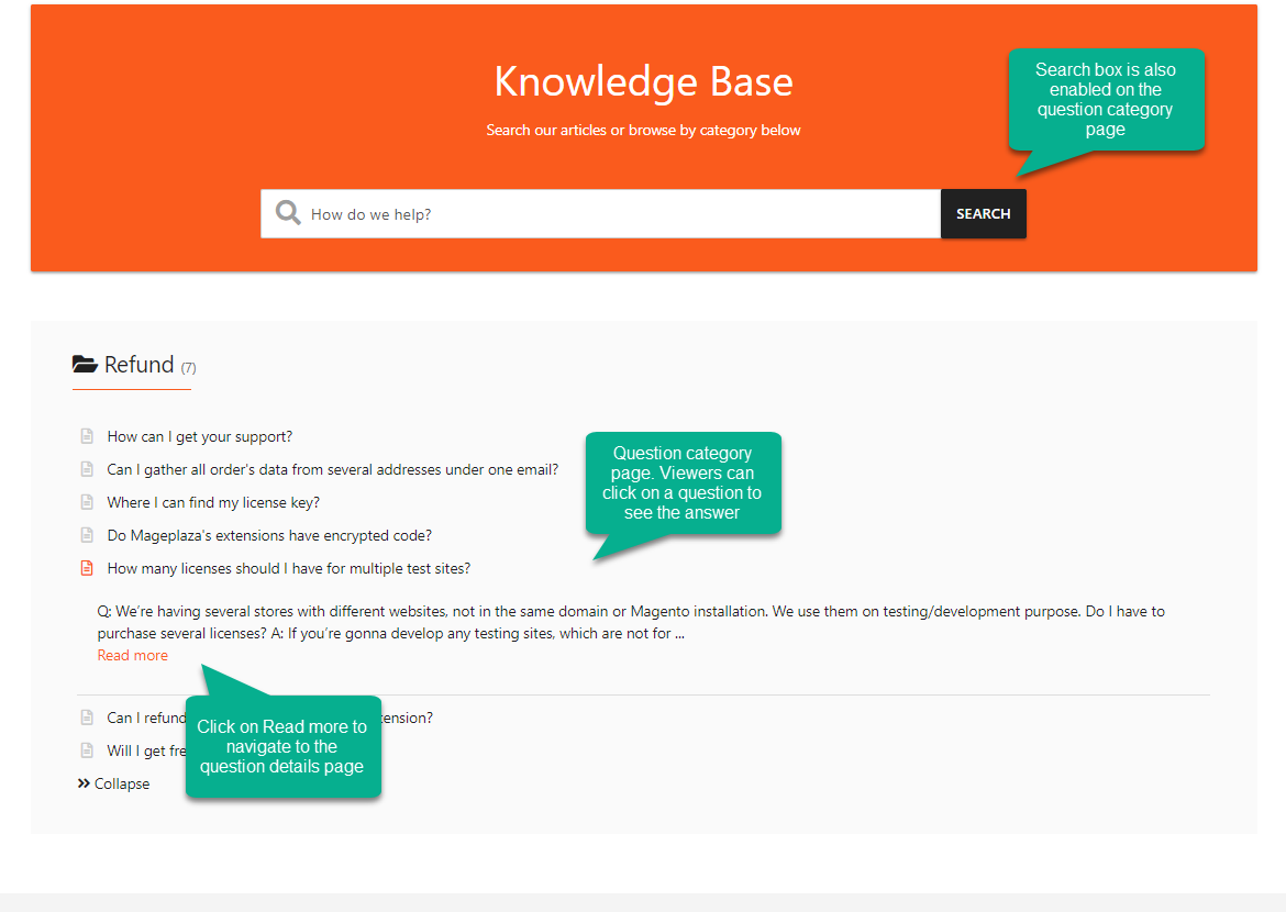 Clear to see FAQ page design