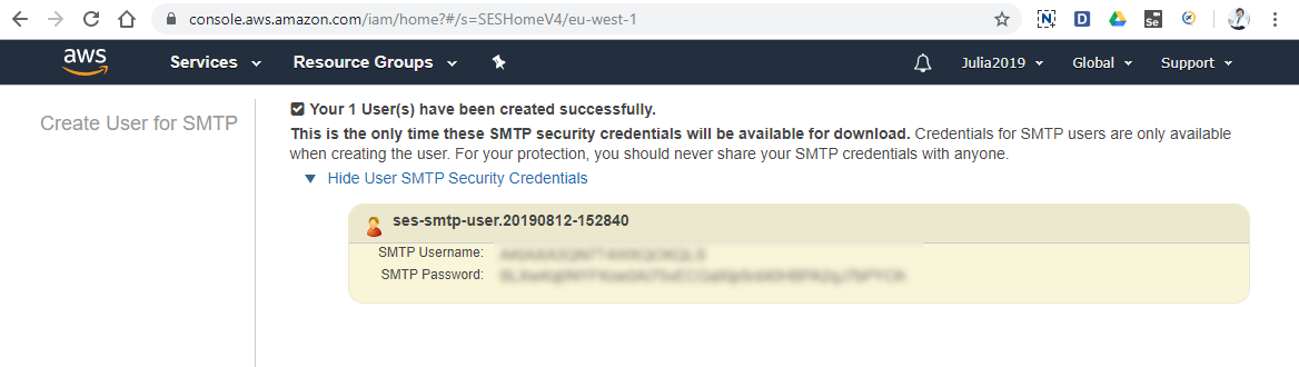 SMTP credentials