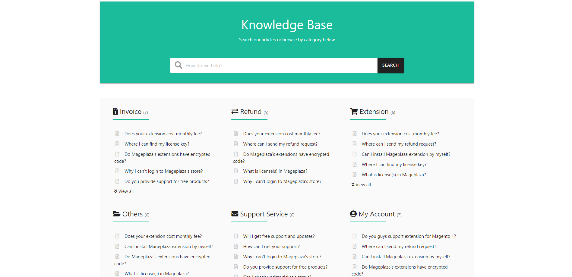 Layout of the Knowledge Base page