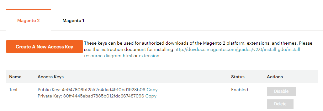 Login and Get Magento Access key