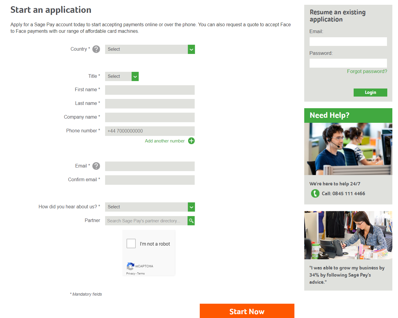 Sign Up Sage Pay Account