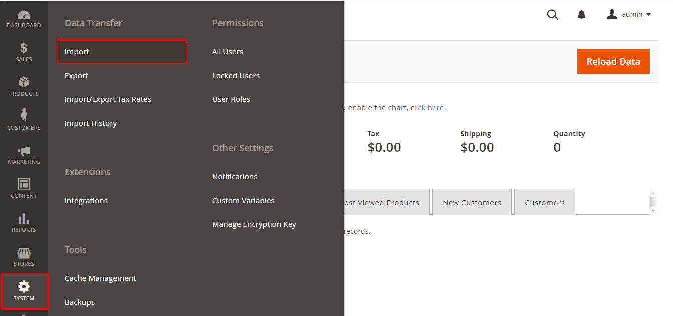 Import tab in Magento backend