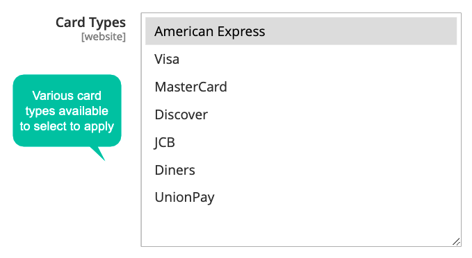 Major Worldwide Payment Cards