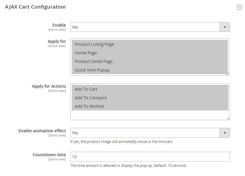 AJAX Cart Configuration