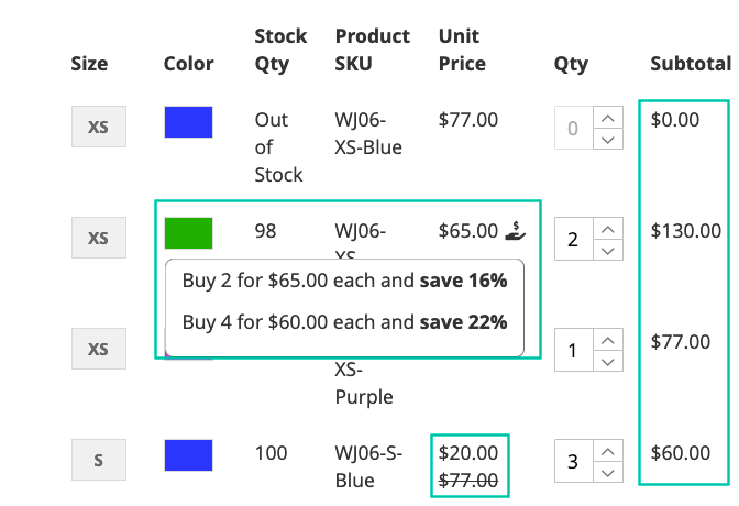 Show advanced pricing of configurable products
