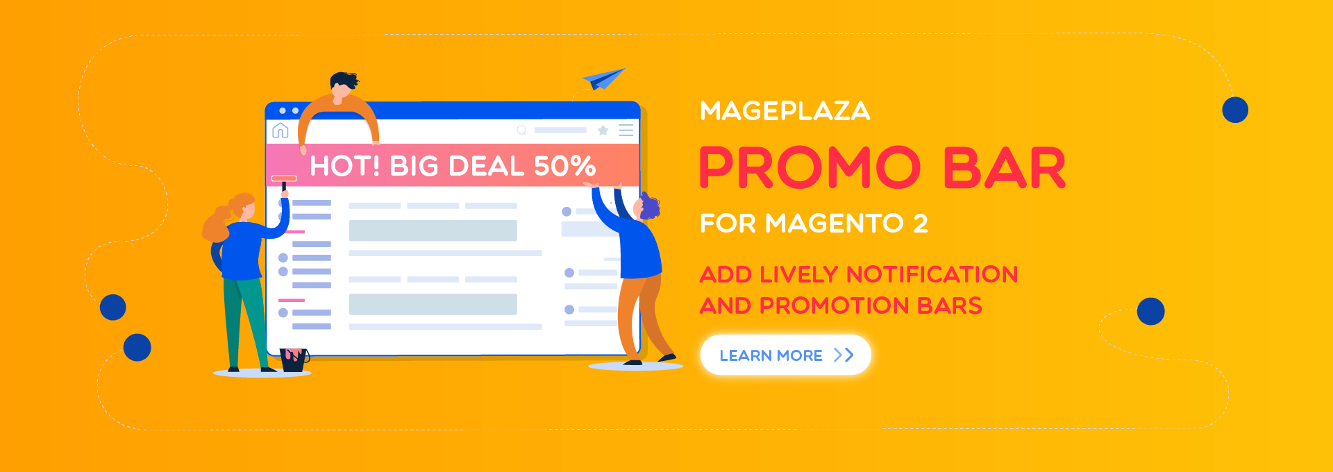 Show lively notifications and promotions with Promo Bar extension