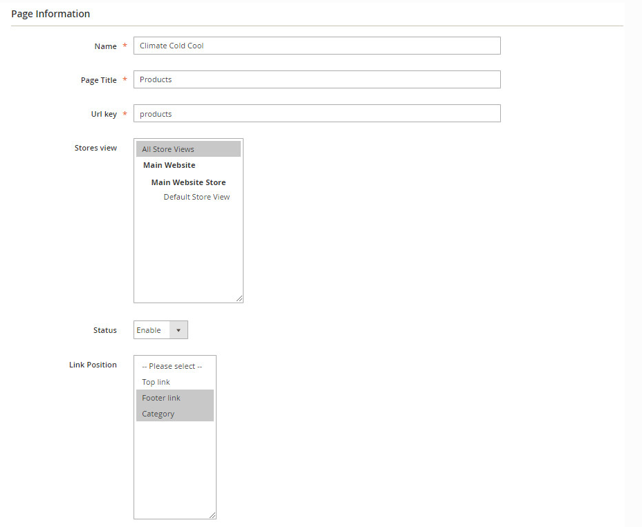 Page information configuration