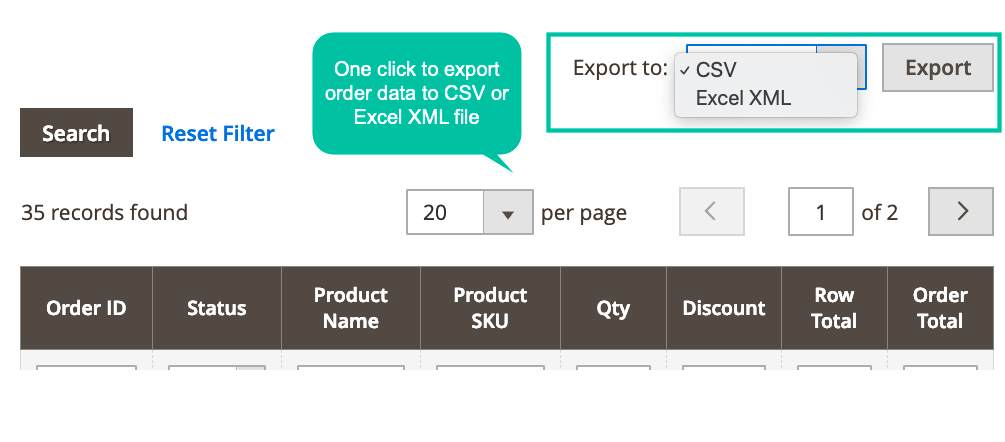 Quickly export purchased items of customers