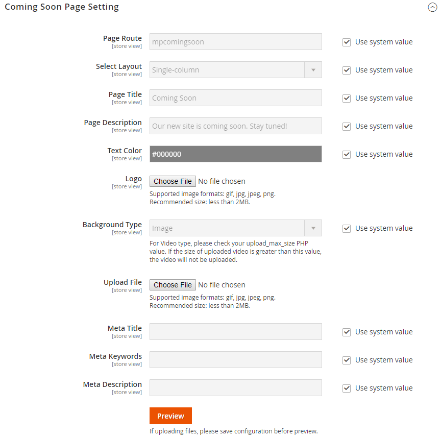 Coming Soon Page setting