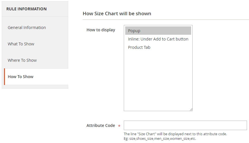 Size chart button