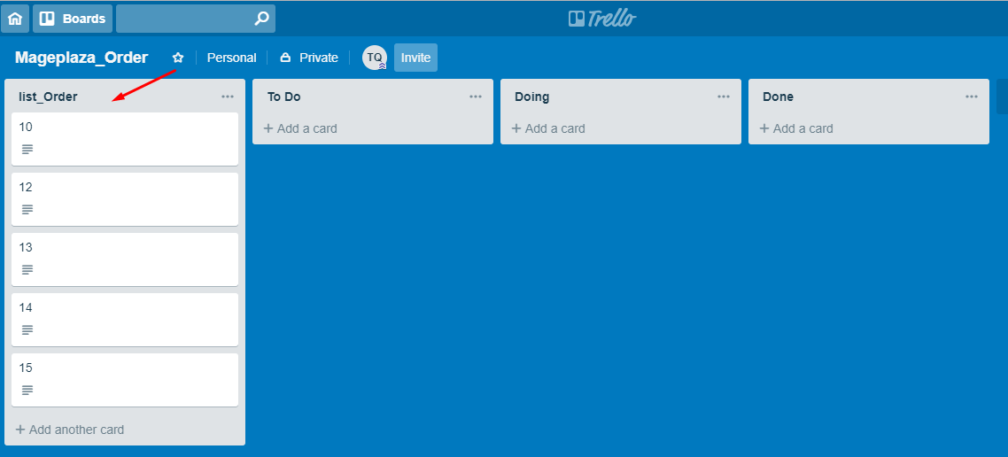 Result Shown In Trello
